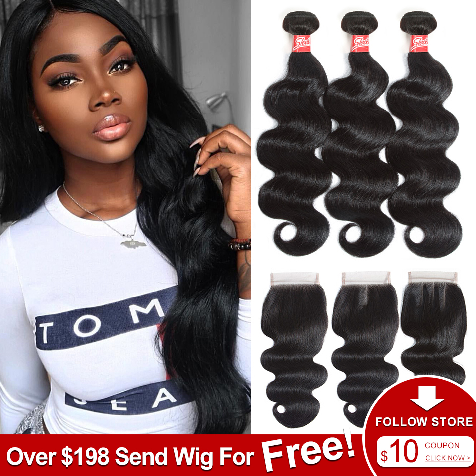 Sleek Body Wave Bundles With Closure Brazilian Hair Bundles With Closure 8-28 30 Non-Remy Human Hair 3/4 Bundles With Closure