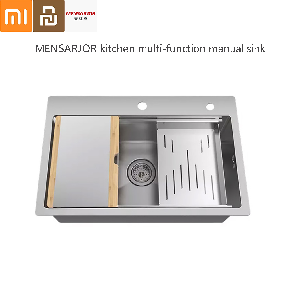 MENSARJOR Kitchen Multi-function Combination Handmade Sink 50L Stainless Steel Sink With Chopping Board Drain Basket From Xiaomi