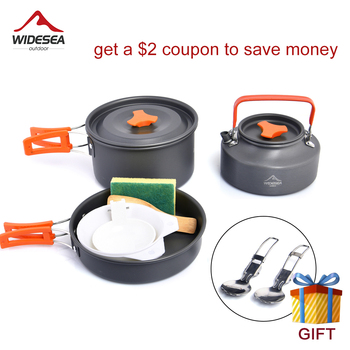 Widesea Camping Cookware Set Pots Tableware Outdoor Cooking Cutlery Utensils Hiking Picnic Travel Equipment Tourism Dinner set widesea camping cookware titanium tableware tourist pot outdoor cooking kitchen picnic utensils backpack hiking trekking