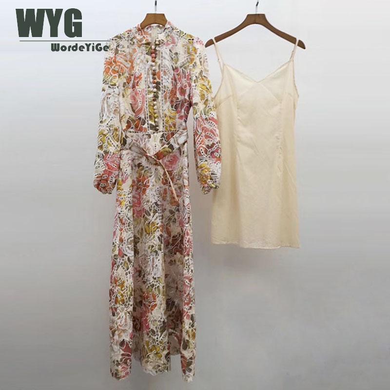 Australia Fashion Embroidery Dresses 2020 Spring New Hollow Out Floweres Embroidered Lantern Sleeve Elegant Midi Dress
