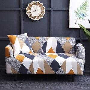 Image 4 - Geometryczna narzuta na sofę elastyczna rozciągliwa uniwersalna narzuta na sofę s przekrój kanapy pokrowiec narożny na fotele meblowe 1/2/3/4 seater