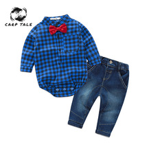 3-24 Months Newborns Clothes New Red Plaid Rompers Shirts+jeans Baby Boys Bebes Clothing Set Newborn Boy