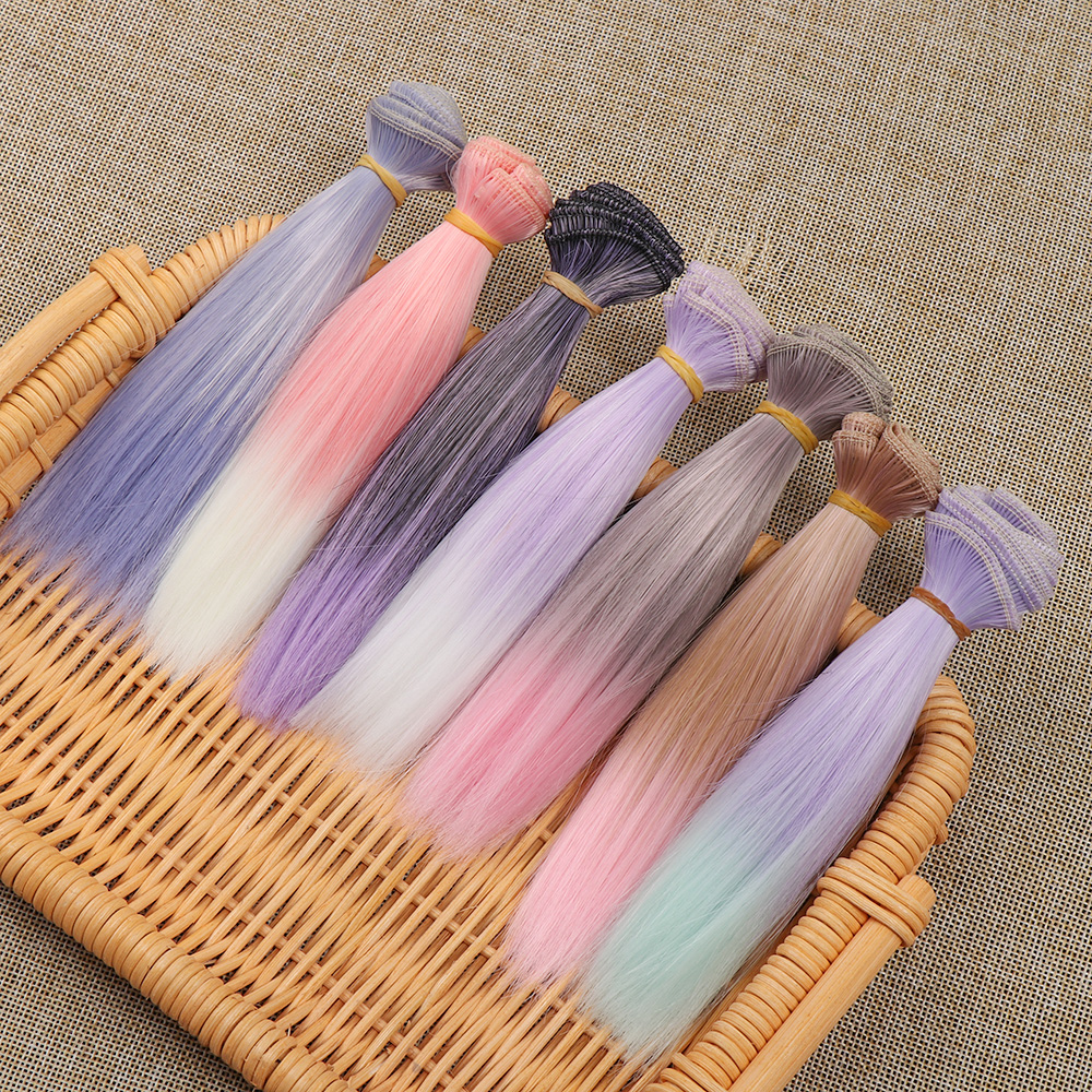 1PC Straight Wig Hair for BJD/SD Doll Lovely Gradient Color Synthetic Fiber Toys Wigs Kids Children Gifts Doll Accessories 15cm