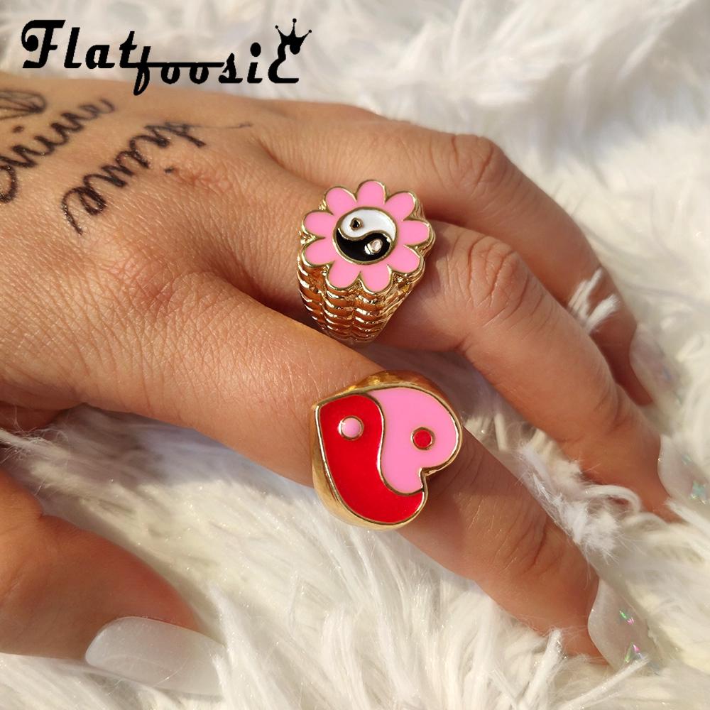 Flatfoosie Trendy New Love Heart Yin Yang Rings For Women Gold Silver Color Enamel Flowers Smiley Face Rings Couple Jewelry Gift