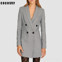 Autumn Winter Vintage Houndstooth Tweed Long Jackets Blazers Women Sexy V-Neck P