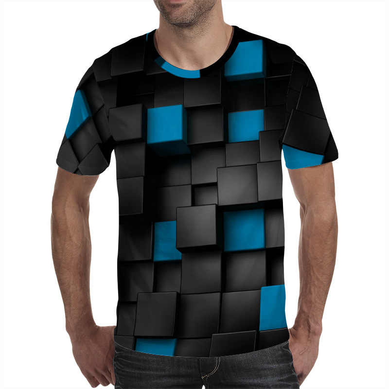 3D Funny T Shirt For Men Squares Printed Short Sleeve Summer High Quality Casual Tops Tee Hip Hop Streetwear 3d Square Tshirt