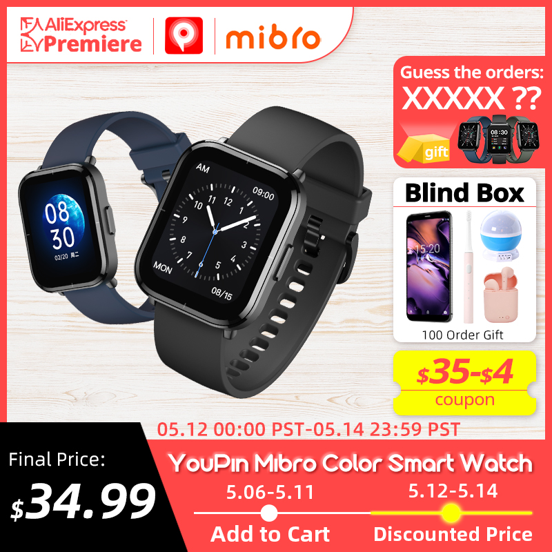 [Мировая премьера] Mibro Color Смарт часы , 5 АТМ Водонепроницаемые, Монитор кислорода в крови, Аккумулятор 270 мАч, Смарт часы для женщин мужчин IOS ...