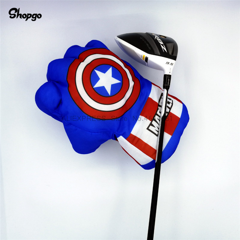 Blue Hand The Fist Golf Driver Headcover Captain American Boxing Wood Golf Cover Golf Club Accessories Novelty Great Gift