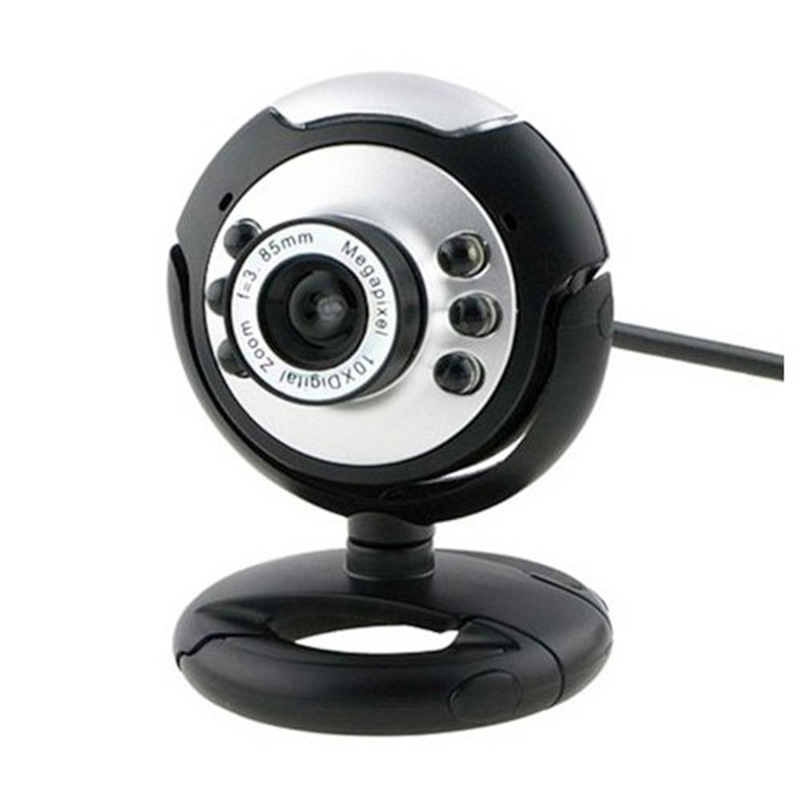New 6 LED USB HD Computer Camera 12 Mega Pixels Clip-on Webcam Camera With Mic Night Vision For Desktop PC 360 Degrees Rotatable