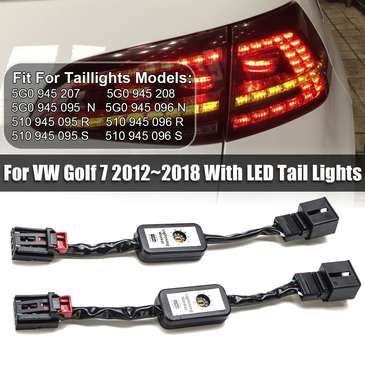 Cable-Wire Taillight Dynamic Turn-Signal-Indicator VW Golf-7 Harnes 2pcs LED For Golf-7/Left/Right