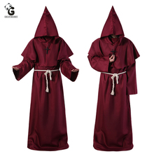 Medieval Monk Costume Men Vintage Renaissance Monk Cosplay Cloak Robe Friar Priest Costume Halloween Costumes for women Dress monk malatesta monk