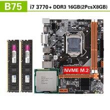 Kllisre B75 האם סט עם Intel Core I7 3770 2x8GB = 16GB 1600MHz DDR3 שולחן עבודה זיכרון USB3.0 SATA3