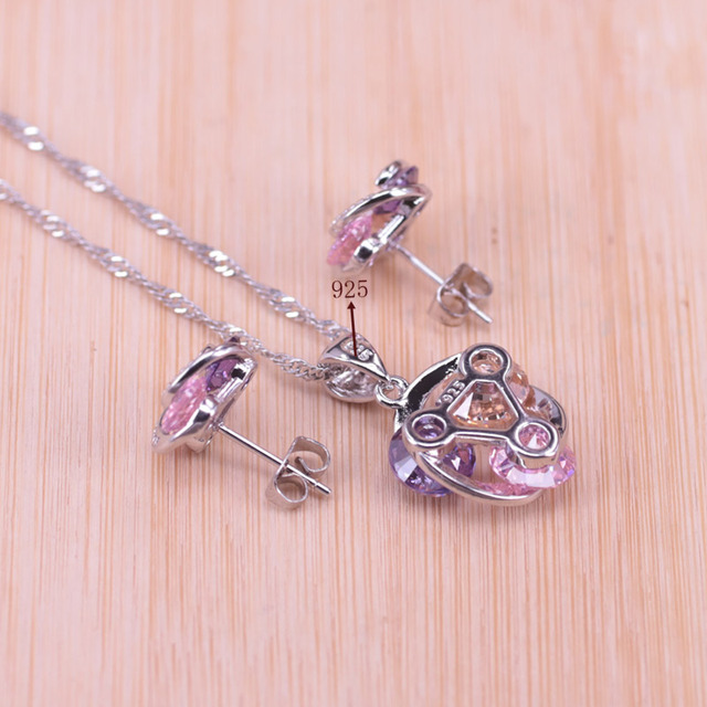 Risenj Big Discount Colorful Lucky Circle Silver Color Jewelry Set For Women Earrings Ring Necklace Drop Shipping T28 6