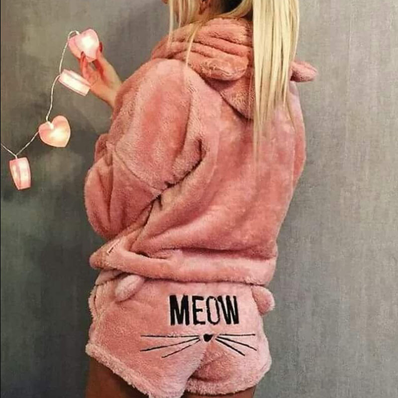 2020 Newly Winter Women Flannel Pajamas Set Bear Hooded Pajamas Winter Warm Coral Fleece Sleepwear Hoodie+Short Tow 2pcs Suit