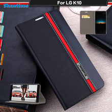 цена на Book Case For LG K10 2016 Luxury PU Leather Wallet Flip Cover For LG K10 LTE M2 K420N K430 K430ds Silicon Soft Back Cover