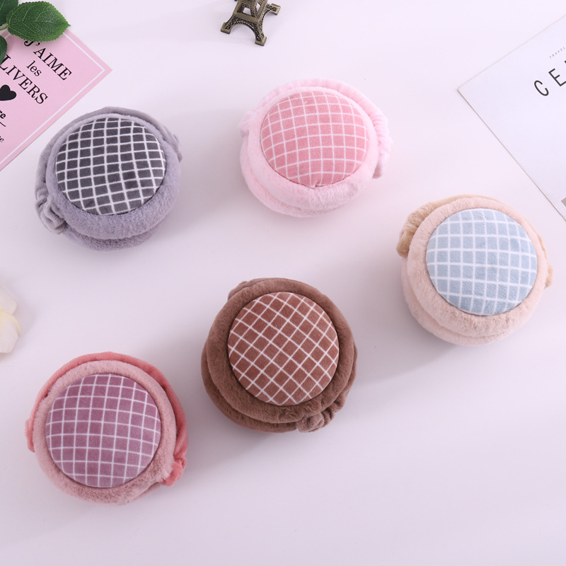 2019 Hot New Fashion Winter Warm Earmuffs For Women Cotton Ear Warmer Plaid Burger Fashion Ear Muffs Girls Winter Earmuffs