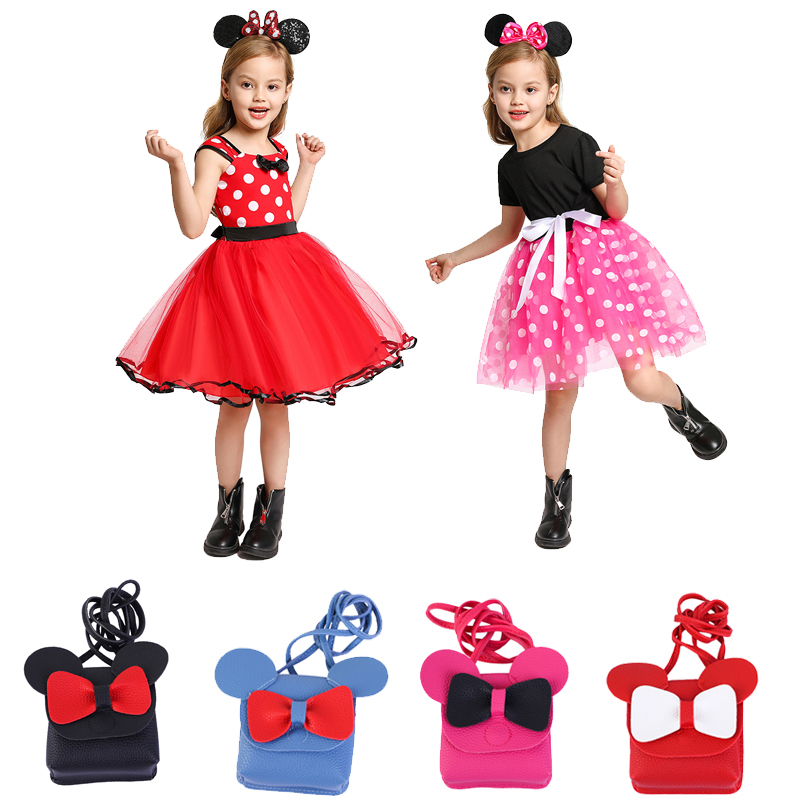 Tulle Mouse Mickey Dress Princess Elsa Anna Belle Cotton Casual Dress Toddler Polka Dot Kids Minnie Dress Ear Headband Purse Bag