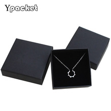 Free shipping wholesale 40pcs /lot 9*9*3cm Black Necklace Packaging Boxes Ring Paper Boxes Gift Jewelry Box