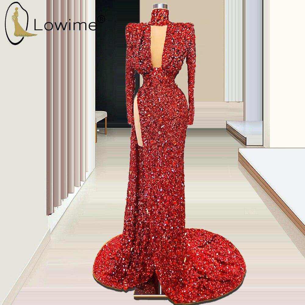 Dubai Wine Red High Neck Evening Dresses With Long Sleeve Mermaid Side Split Glitter Sequiined Formal Dress Vestiod De Soiree
