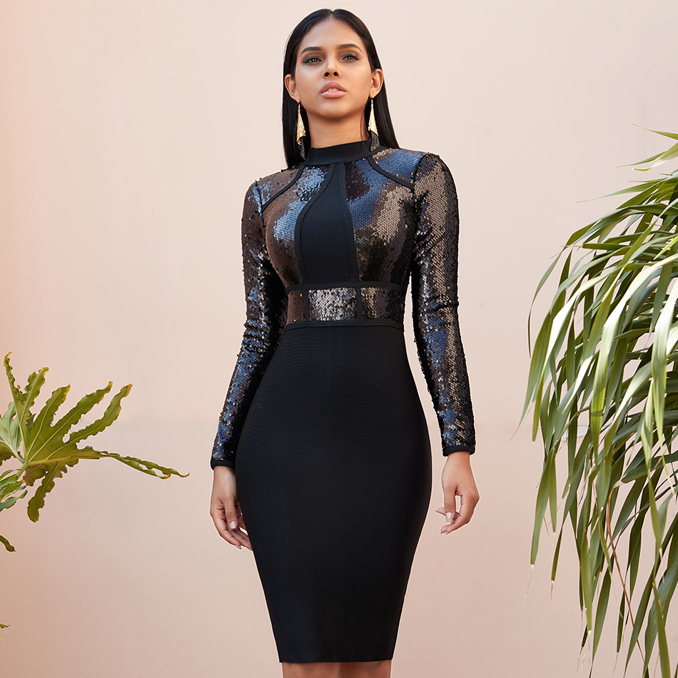 Seamyla Winter <font><b>Black</b></font> Sequined <font><b>Long</b></font> Sleeve Bandage <font><b>Dress</b></font> <font><b>Women</b></font> <font><b>Sexy</b></font> <font><b>Bodycon</b></font> Elegant Evening Celebrity Party Club <font><b>Dresses</b></font> Vestidos image