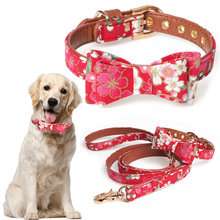 Pets Puppy Cats Collar Flower Print Bowknot Small Dogs Adjustable Leather Neck Strap For And Medium Pet D40