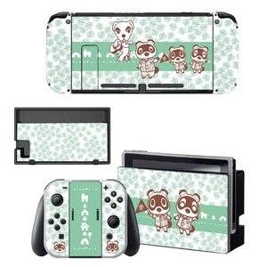 Image 3 - Animal Crossing etiqueta protectora de pantalla para Nintendo Switch NS, base de carga, soporte para Joycon, funda para mando