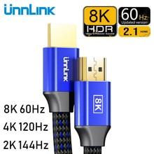 Unnlink HDMI 2.1 כבל 1.8M 8K @ 60Hz 4K @ 120Hz 2K @ 144hz HDR 48Gbps HDCP2.2 7.1 עבור ספליטר מתג PS4 טלוויזיה xbox מקרן מחשב