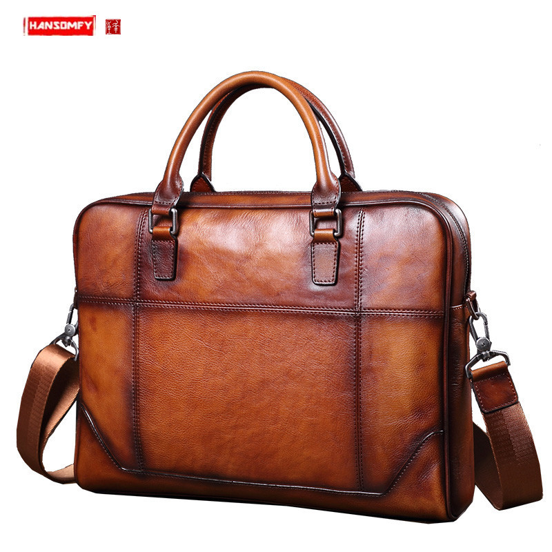 Men's Bag First Layer Leather Handbag Business Briefcase 14 Inch Laptop Bag Men Cowhide Casual Shoulder Messenger Bags Male