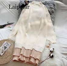 Зимнее плиссированное платье свитер женское вязаное плотное