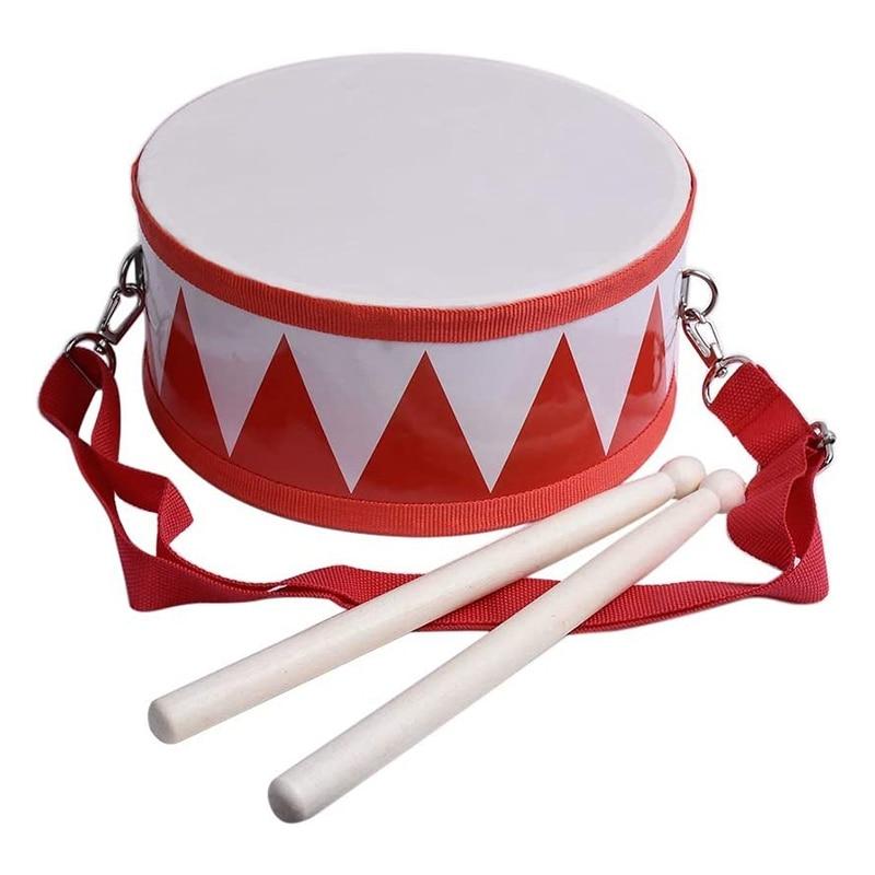 Детский барабан деревянный игрушечный набор барабанов с ручным ремешком палка для детей, начинающих ходить, подарок для развития чувства д...