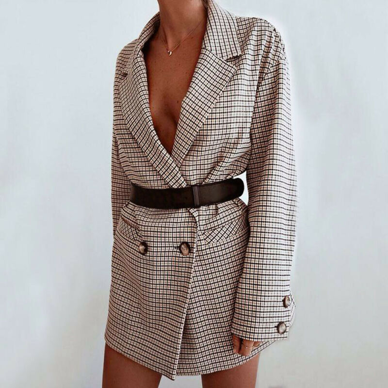 2019 Spring Autumn Women Plaid Jackets Button Down Blazer Coat Ladies Casual Jacket Outwear Fashion Coat Outfits Brand New
