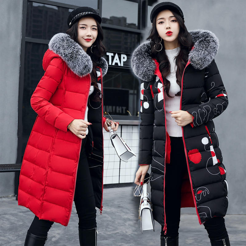 Plus Size 3XL   Parkas   Two Sides Wear Down Cotton Winter Jacket Women Hooded Faux Fur Collar Winter Coat Women Long Overcoat C5813