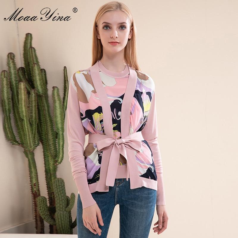 MoaaYina Spring Fashion Long Sleeve Knitting Tops Women's Elegant Silk Print Lace Up Cardigans Pink Wool Sweater Coat