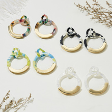 Fashion Geometric Circle Round Colorful Acetate Metal Earrings for Women Gold Alloy Resin Drop Dangle Earring Statement Jewelry