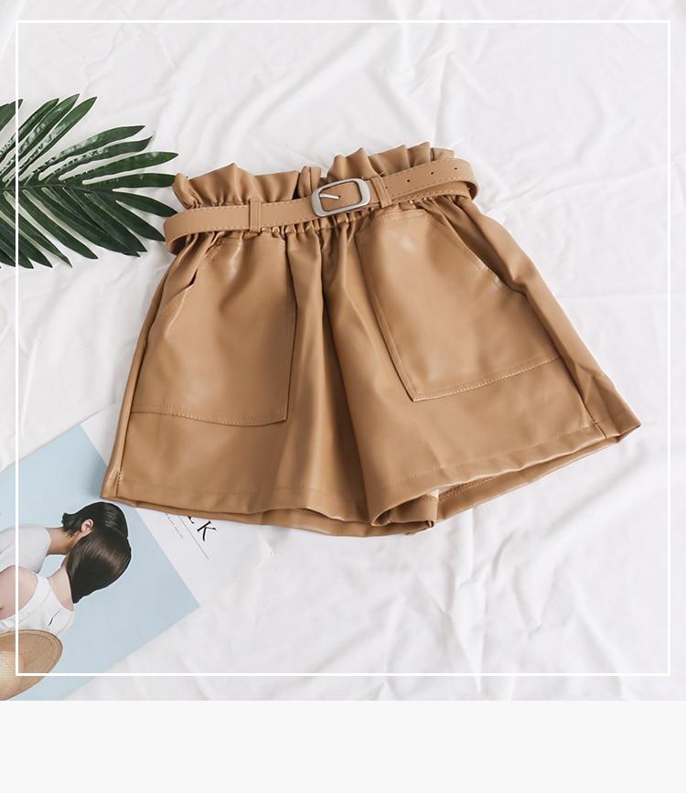 Black Khaki High Waist Loose Shorts 3