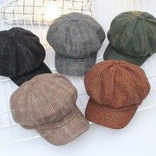 Octagonal Hat Berets Woolen British-Style Retro Women Winter Plaid for Autumn Casual