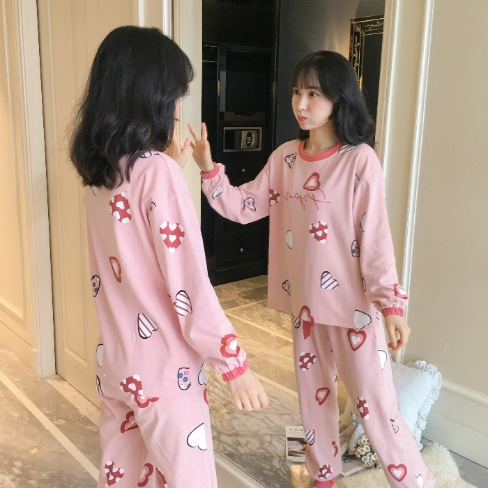Pajamas Women's Spring And Autumn Long Sleeve Students Korean-style Fresh Cute Plaid Casual Tracksuit 9823 # M -Xxl