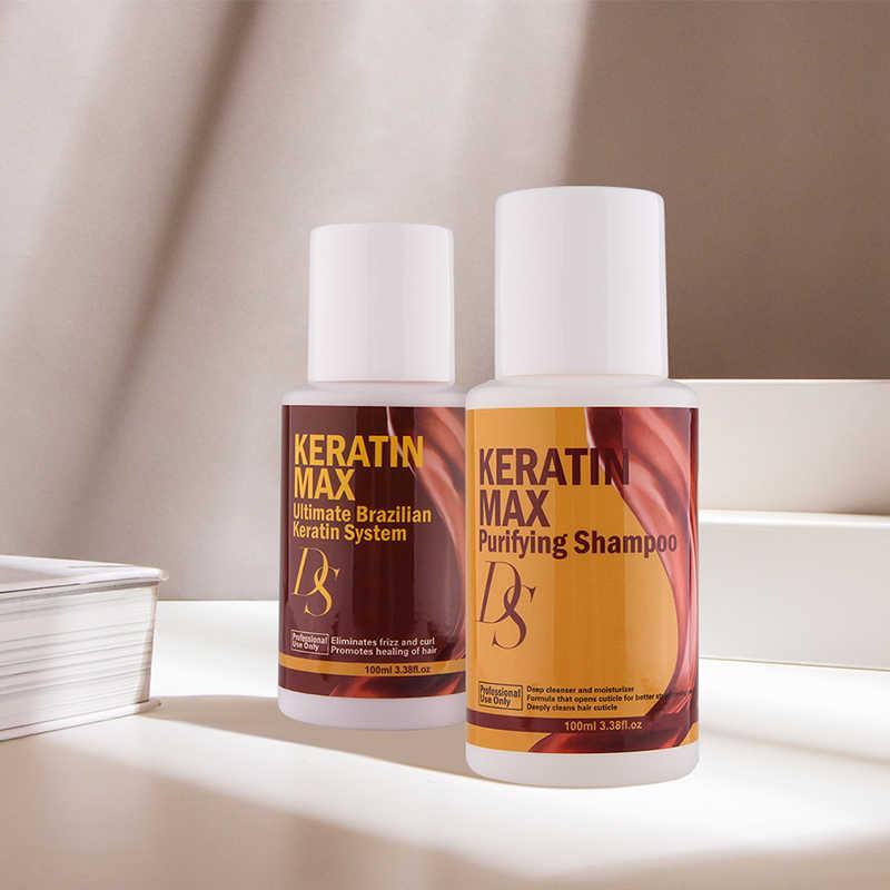 ברזיל קרטין 12% פורמלין טיפול שיער קרטין עבור פגום מתולתל שיער + 100ml טיהור שמפו