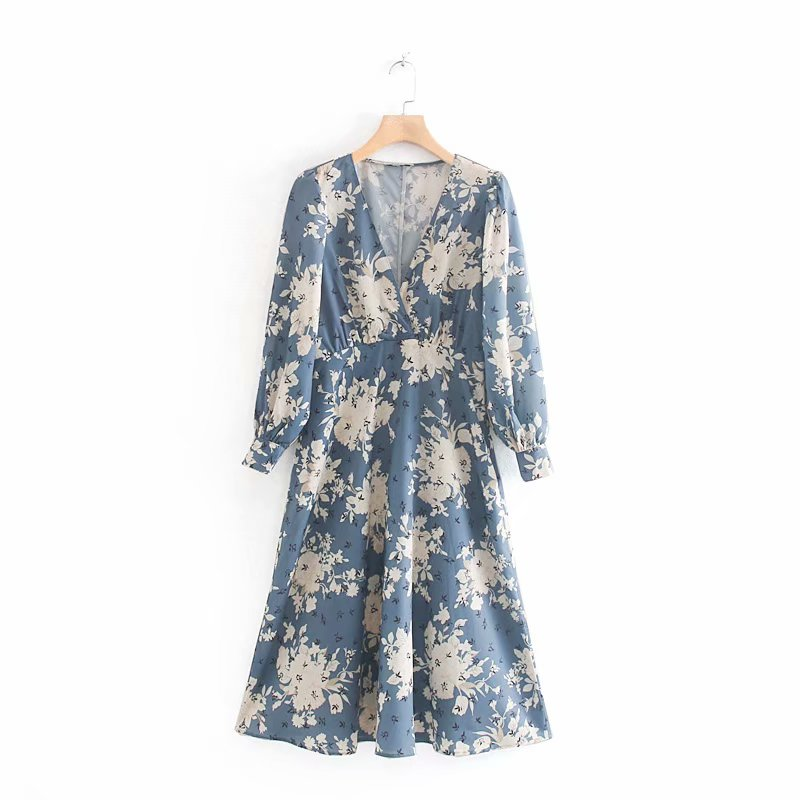 New Women Cross V Neck Casual Kneeth A Line Dress Ladies Elegant Flower Vestidos Print Long Sleeve Chic Party Dresses DS2854