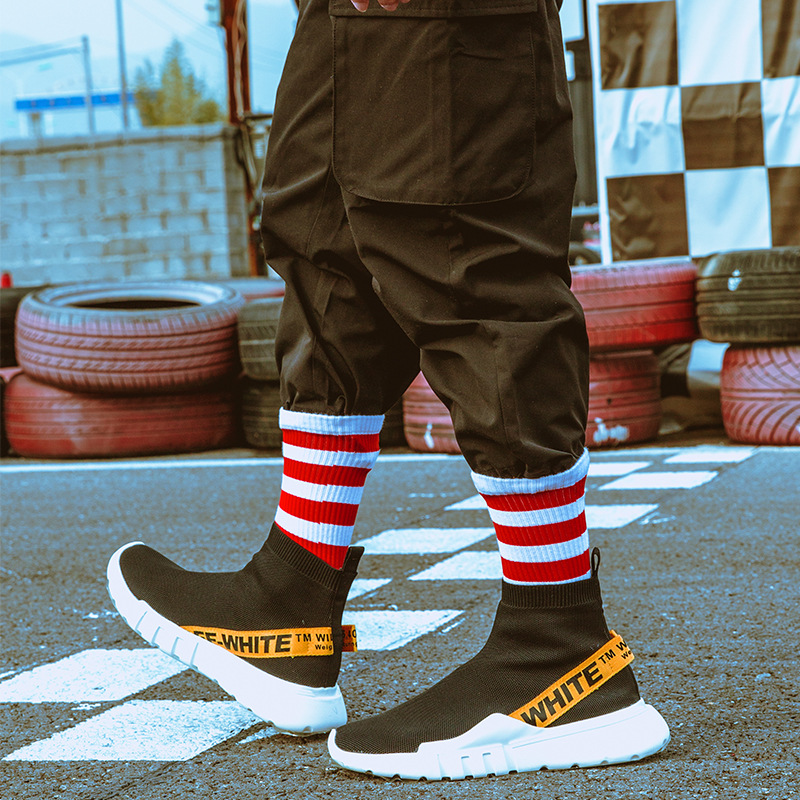 New Tide Socks Harajuku Skateboard Socks Europe And America Hip Hop BF Men And Women Couple Socks Four Bar Cotton Socks