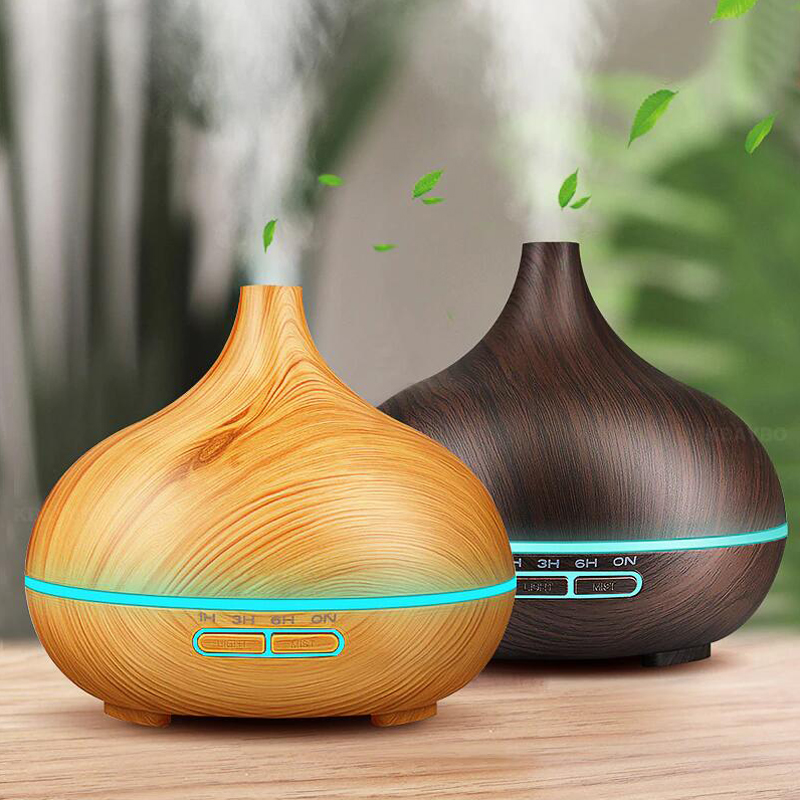 Aroma Essential Oil 550ml Diffuser Ultrasonic Air Humidifier with Wood Grain 7 Color Changing LED Lights for Office Home
