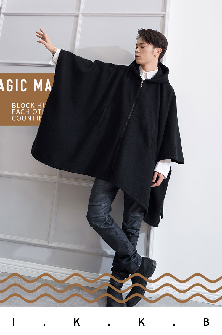 New Youth Autumn and winter tide men's coat loose personality Cape Cape Cape Long coat tweed thick wool coat