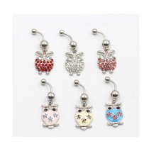 New Style Navel Ring High Quality 316L Surgical Steel Piercing Belly Button Rings Beautiful Owl Navel Piercing Sex Body Jewelry цена и фото