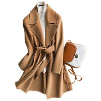 classic coat double faced cashmere coat woolen Original Design Women Autumn Winter Elegant Casual Warm 100%Wool Coat