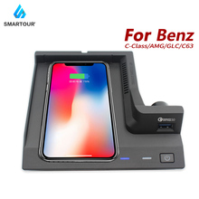 Fit For Mercedes Benz C180 AMG C43 C63 GLC C Class QI wireless charging phone charger charging case accessories for iPhone 8 X for glc wireless charger 15w power c class charger mobile phone fast charging adaptor2015 2019 c63 c180 c200 w205 car qi charger