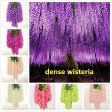 110cm dense wisteria flower artificial silk vine elegant rattan for wedding garden home parties decoration
