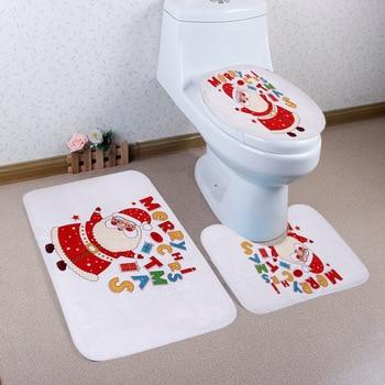 Alfombra de baño navideña antideslizante, Tapa para asiento de Inodoro, accesorios de baño de Navidad, 3 unidades