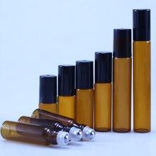 20 pçs/lote 3ml 5ml 10m rolo de vidro âmbar na garrafa com vidro/bola de metal marrom rolo de vidro fino óleo essencial frascos