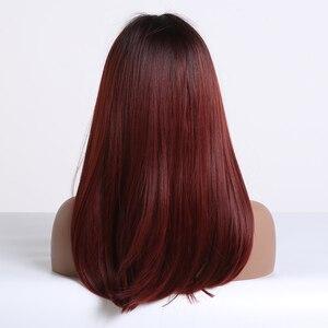 Image 3 - EASIHAIR Lange Dark Red Gerade Synthetische Perücke mit Pony Perücken für Frauen Hitze Beständig Faser Täglichen Falsche Haar Cosplay Perücken