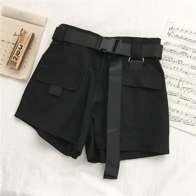 Genayooa Streetwear Shorts Women Fitness Korean Summer Woman High Waist Wide Leg Cargo Women's Shorts Feminino Pocket 8